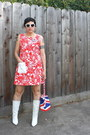 White-boots-red-dress-red-butt-ugly-bag