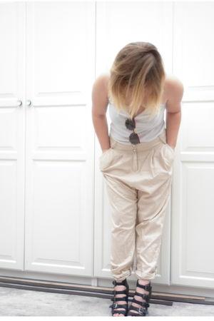 beige Pimkie pants - white H&M t-shirt - black asos shoes - yellow H&M glasses