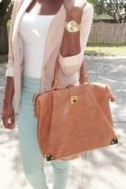 sky blue H&M pants - eggshell Forever 21 blazer - gold heels