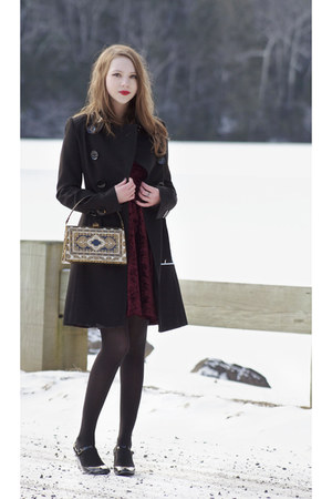 gold vintage bag - maroon velvet Mink Pink dress - black karen millen coat