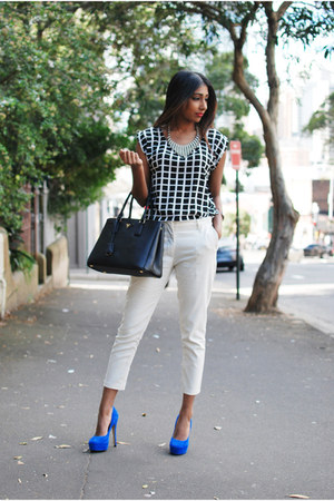 black leather Prada bag - white asoscom pants - checkered Glassons blouse