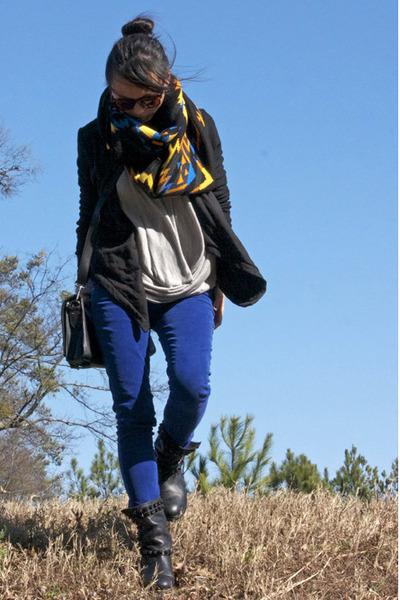 asos scarf - Zara boots - BCBG jacket - TheySkens Theory bag - Rave pants