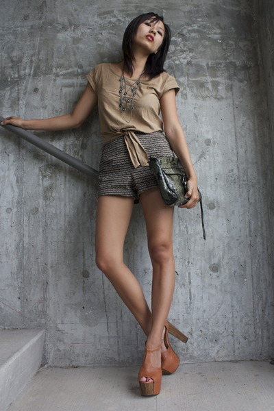 Rebecca Minkoff purse - Urban Outfitters shorts - Jessica Simpson sandals - H&M