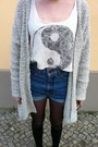 Blue-levis-shorts-white-urban-outfitters-t-shirt-ivory-vintage-cardigan