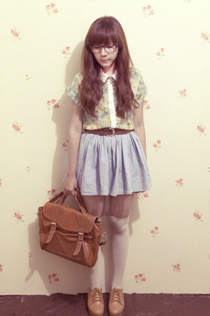 floral print clothinc shirt - denim H& skirt