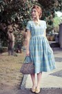 Sky-blue-plaid-vintage-anna-periska-dress-crimson-vintage-liz-claiborne-bag