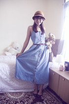 sky blue denim vintage dress - dark brown loafers-alike pull&bear flats