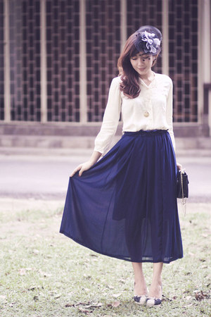 chiffon skirt - Sportsgirl purse - lace accent Lovely shoes heels