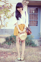 mustard bonvieux skirt - light yellow floral prints Sellitoes shoes