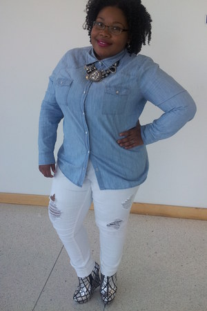 Forever21 jeans - Old Navy shirt - wedges heels