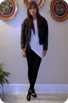 thrifted leather jacket - Kirkland oversized shirt - Zara leggings