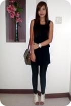 thrifted shift dress - Zara leggings - Matthews CMG shoes - Philippe Salvet purs
