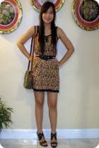 from bangkok floral dress - forever 21 shoes - leather plait belt