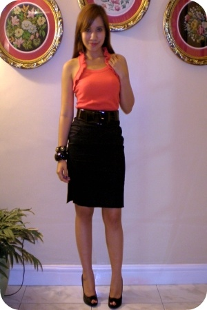 black The black shop skirt - black Matthews CMG shoes - SM salmon top