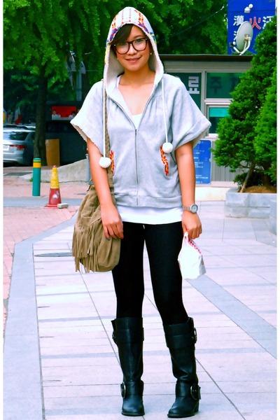 heather gray thrifted jacket - white Topshop top - black Zara leggings - black F