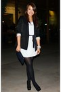 Periwinkle-h-m-dress-black-h-m-blazer-black-guess-heels