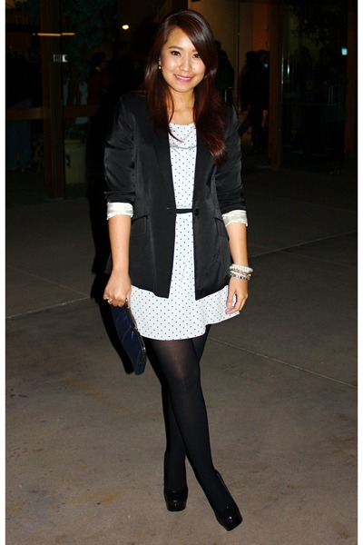 black H&M blazer - periwinkle H&M dress - black rock candy Guess heels