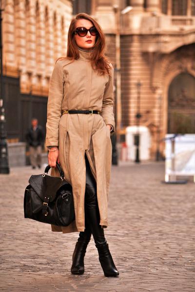 Sandra Pucini coat - H&M boots - black Zara tights - H&M belt