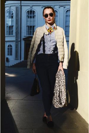 H&M scarf - navy Zara jeans - Mango jacket - H&M bag - H&M sunglasses