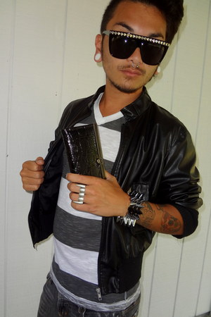 black faux leather jacket - black striped shirt - black studded sunglasses