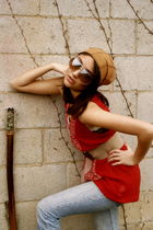 brown Indian bought in Greece accessories - brown vintage sunglasses - red free