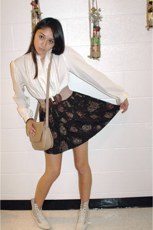 white vintage blouse - brown vintage Coach purse - white Victorian era vintage b