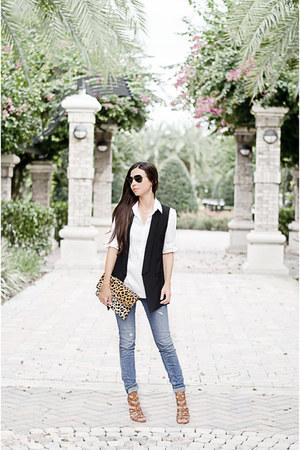 Loft jeans - Loft shirt - Clare V purse - nor vest