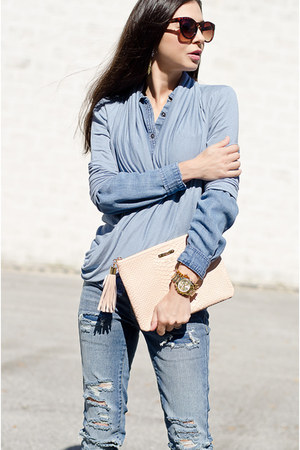 Michael Kors watch - GiGi New York purse - zeroUV sunglasses - Loft blouse
