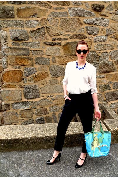 blue gold chain francescas necklace - turquoise blue coach bag