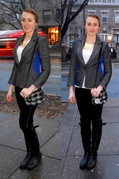 black leather Steve Madden boots - blue Yoana Baraschi blazer
