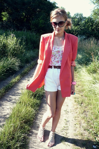 pink Spencer blazer - dilly shoes - H&amp;M shirt - white Wrangler shorts