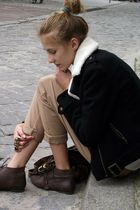 black H&M jacket - beige Zara pants - brown Zara shoes