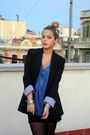 Black-zara-blazer-blue-h-m-shirt-black-zara-skirt-silver-vintage-accessori