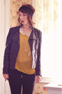 Gold-luluscom-blouse-black-faux-leather-romwe-jacket