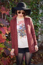 brick red H&M cardigan - black cynthia rowley tights - maroon Ebay sunglasses
