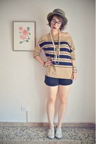 tan striped Mango cardigan - off white oxford Urban Outfitters shoes