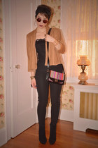 black Urban Outfitters bag - tan suede H&M jacket
