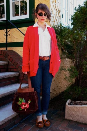 Minnetonka shoes - Urban Outfitters bag - Urban Outfitters cardigan - vintage bl