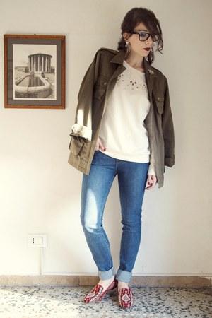 olive green parka H&M jacket - blue madewell jeans - ivory Zara sweatshirt
