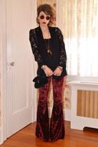 black velvet asos bag - brick red Ebay sunglasses - black lace INC cardigan
