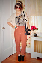 tawny Zara pants - black seychelles boots - off white Anthropologie sweater
