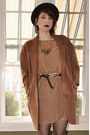Camel-velvet-zara-dress-brown-oversized-anthropologie-coat-black-h-m-bag