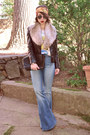 Light-blue-flared-urban-outfitters-jeans-black-leather-romwe-jacket
