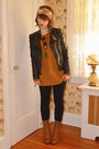 Black-faux-leather-romwe-jacket-mustard-urban-outfitters-sweater