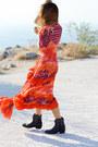 Black-ash-boots-carrot-orange-roberto-cavalli-dress