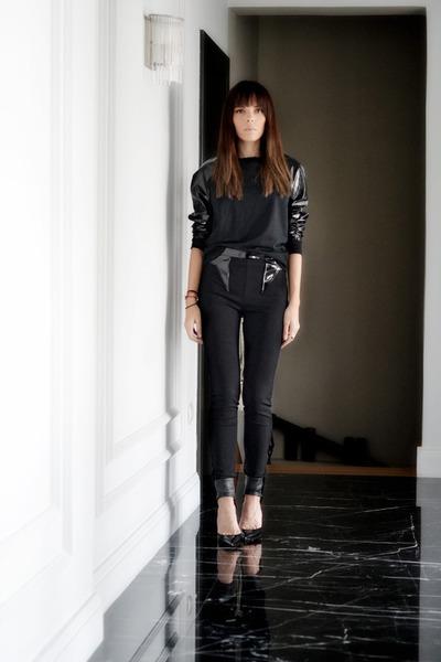 black pvc karl terry sweater - black Givenchy pants - black Gianvito Rossi pumps