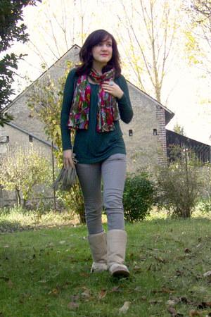 beige Ebay boots - periwinkle Pimkie jeans - beige H&M bag
