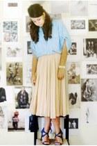 neutral Mango skirt - turquoise blue shirt - navy Nicholas Kirkwood heels