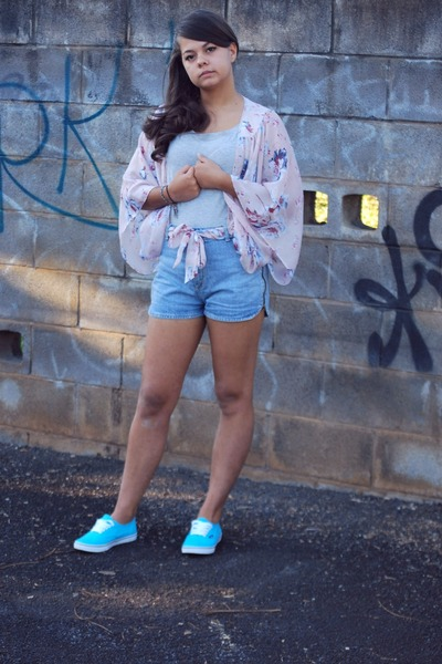 aquamarine Vans sneakers - teal Topshop shorts - silver Mango top