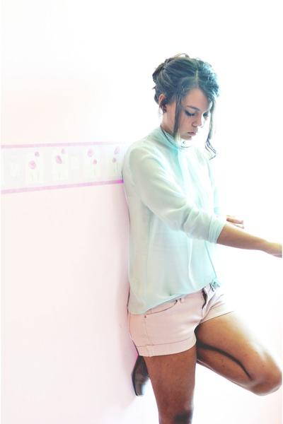 light blue Zara shirt - light pink Mango shorts
